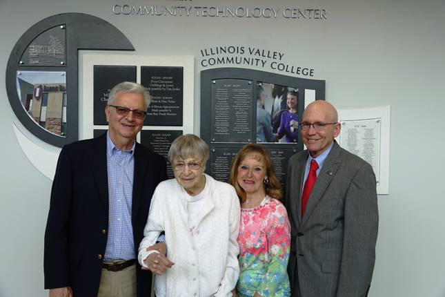 Mike, Myrle and Jackie Sapienza and IVCC President Jerry Corcoran